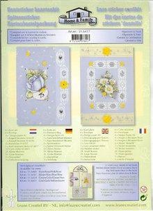 Exlusiv Karten Bastelpackung mit Spitze Sticker und Blumen Motive