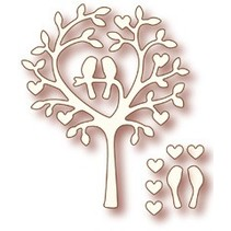 "Wild Rose Studio`s stempling og prægning stencil ""Love Bird Tree"""