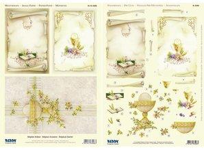 BILDER / PICTURES: Studio Light, Staf Wesenbeek, Willem Haenraets 1 3D die cut sheet + 1 sheet with background designs, Religious Motives / Communion - Confirmation