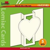 5 tarjetas: tarjeta emergente con 1 corazón, A6, tarjeta dual