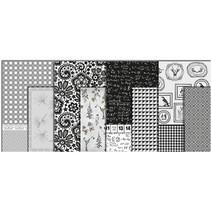 Papel decoupage, surtido en blanco y negro, hoja de 25x35 cm, 8 ordenar. Hoja