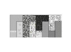DESIGNER BLÖCKE  / DESIGNER PAPER Papel decoupage, surtido en blanco y negro, hoja de 25x35 cm, 8 ordenar. Hoja, hoja de 25x35 cm, 8 ordenar. Hoja