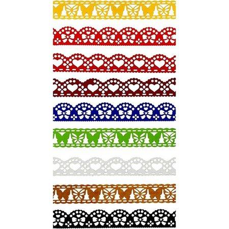 Embellishments / Verzierungen 9 verschiedene selbstklebende Papierborte mit Spitzeneffekt!