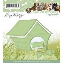 Stempelen en embossing stencil, Animal Medley, hond huis