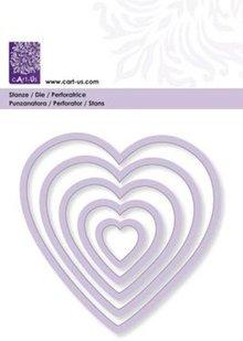 Cart-Us Schneideschablone, Herzen, 5 Größe