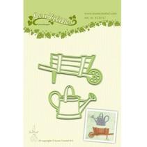 Stanz - und Prägeschablone, Garten Schubkarre und Wasserkanne