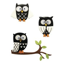 3D Sticker: Owl sort, med lim prik, 3 stk