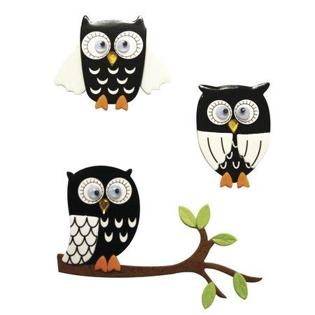 Embellishments / Verzierungen 3D Sticker: Eulen schwarz, mit Klebepunkt, 3 Stück