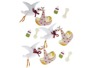Embellishments / Verzierungen 3D Decorative Stickers: baby stork with glue dot, 12 piece