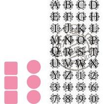 Skæring og prægning stencils Marianne Design + stempel 32 bogstaver