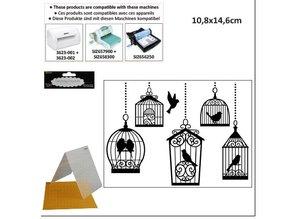 embossing Präge Folder Prägefolder, 10,8x14,6cm birdcages