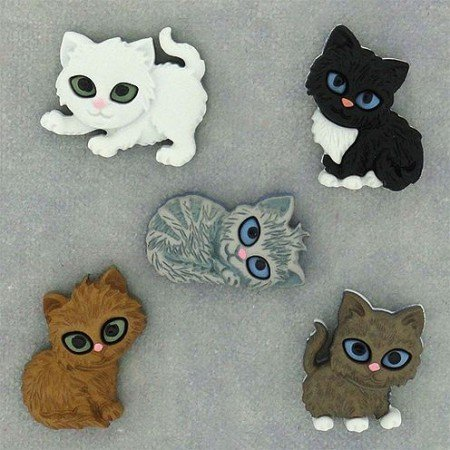 Embellishments / Verzierungen Button, Kitten Kaboodle, 17 x 22-23 x 21 mm, 5 stk, farverige.