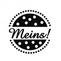 """Holz-Mini-Stempel mit deutschem Text """"meins"""" , 2cm ø"""