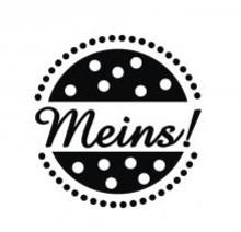 """Stempel / Stamp: Holz / Wood Træ mini stempel med tyske ord """"mine"""", 2cm ø"""