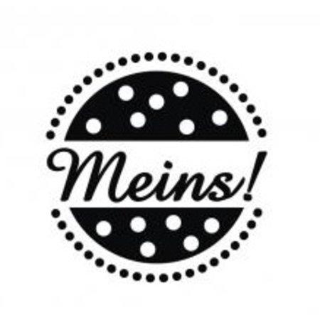 """Stempel / Stamp: Holz / Wood Holz- Mini-Stempel mit deutschem Text """"meins"""" , 2cm ø"""