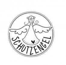 """Stempel / Stamp: Holz / Wood Holze mini stempel med tyske tekst """"Guardian Angel"""", ø 2 cm"""
