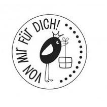 """holze Mini-Stempel mit deutsche Text """"von mir für dich"""" , 2cm ø"""