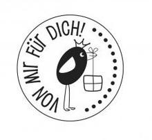 """Stempel / Stamp: Holz / Wood Holze mini stempel med tyske tekst """"fra mig til dig"""", Ø 2 cm"""