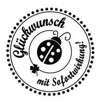"""holze mini stamp with German text """"Congratulations with immediate effect"""", 3cm diameter"""