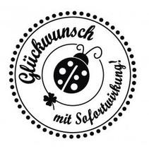 """Holze mini stempel med tyske tekst """"Tillykke med øjeblikkelig virkning"""", 3 cm diameter"""