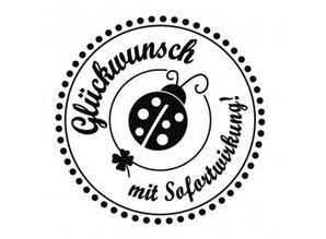 """Stempel / Stamp: Holz / Wood mini estampilla Holze con texto alemán """"Felicidades, con efecto inmediato"""", diámetro de 3 cm"""