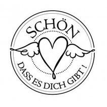 """holze Mini-Stempel mit deutsche Text """"schön dass es dich gibt"""" , 3cm ø"""
