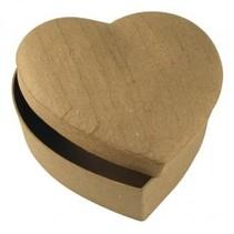 Paper mache box heart 15,5x15,5x6,5 cm