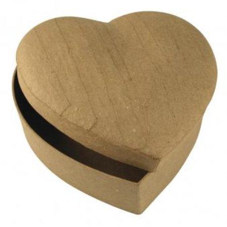 Objekten zum Dekorieren / objects for decorating Pappmaché-Schachtel Herz, 15,5x15,5x6,5 cm