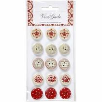 15 Botones de diseño, botones de madera con 2 orificios y grabados