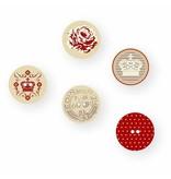 Embellishments / Verzierungen 15 Designer Knapper, træknapper med 2 huller og prints