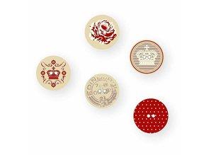Embellishments / Verzierungen 15 Designer Knöpfe, Holzknöpfe mit 2 Löchern und Druckmotiv