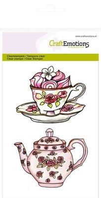 "Crealies und CraftEmotions I timbri trasparenti A6, teiera, tazza e piattino ""High Tea Rose"""