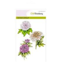 Håndværk Emotions Transparente frimærker A6, krysantemum gren botanik sommer