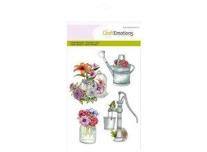 Crealies und CraftEmotions Håndværk Emotions Transparente frimærker A6, vanding pumpe Botanisk Sommer