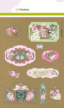 Crealies und CraftEmotions Emozioni Craft Kraft carta disegno botanico 4 fogli A4