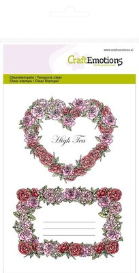"""Crealies und CraftEmotions Craft Emotions Transparent stamps A6, delicacy """"Rose Labels"""""""