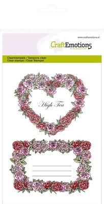 """Crealies und CraftEmotions Håndværk Emotions Gennemsigtige frimærker A6, delikatesse """"Rose Labels"""""""