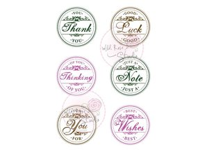 Crealies und CraftEmotions A7 stamp set circle Greetings
