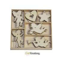 Engel van de vakantie 30 delen in een houten doos !! 10,5 x 10,5 cm