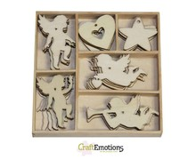 Crealies und CraftEmotions Holiday Engel 30 Teile in ein Holzbox!! 10,5 x 10,5 cm