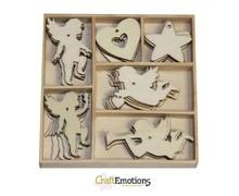 Crealies und CraftEmotions Vacanze Angelo 30 parti in una scatola di legno !! 10,5 x 10,5 centimetri