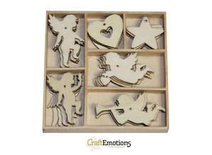 Crealies und CraftEmotions Holiday Angel 30 parts in a wooden box !! 10.5 x 10.5 cm
