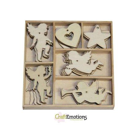 Crealies und CraftEmotions Holiday Engel 30 Teile in ein Holzbox!! 10,5 x 10,5 cm