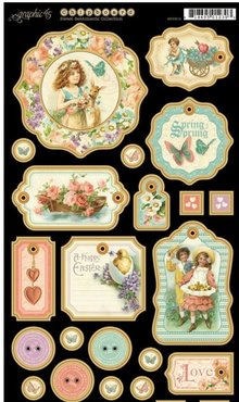 Graphic 45 Truciolato, fustellati, Sentiments Sweet Collection