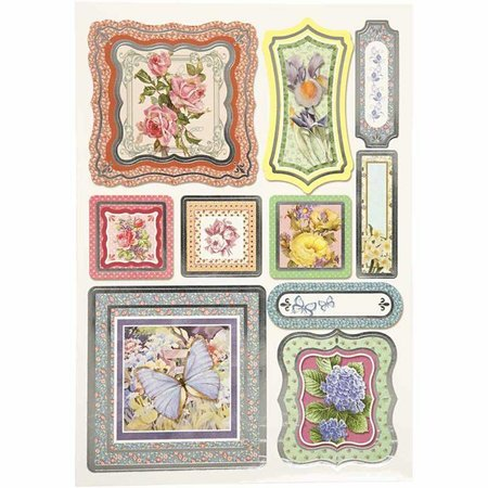Sticker adhesivo de papel, tamaño 23,5x16,5 cm, flores, 4 ordenar. hoja