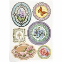 Folie sticker, grootte 23,5x16,5 cm, bloemen, 4 sorteren. blad