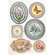 Sticker autoadesivo della stagnola, formato 23,5x16,5 cm, fiori, 4 specie. foglia