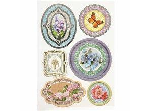 Sticker Folie mærkat, størrelse 23,5x16,5 cm, blomster, 4 slags. blad