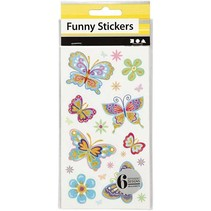 Grappige Stickers, Vlinder, 6 assorti vel