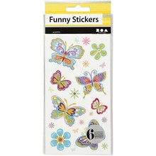 Sticker Funny Stickers, Butterfly, 6 assorted sheets